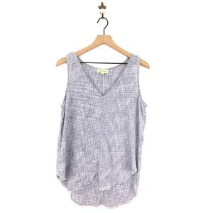 Anthropologie Cloth & Stone Linen Frayed Tank Top